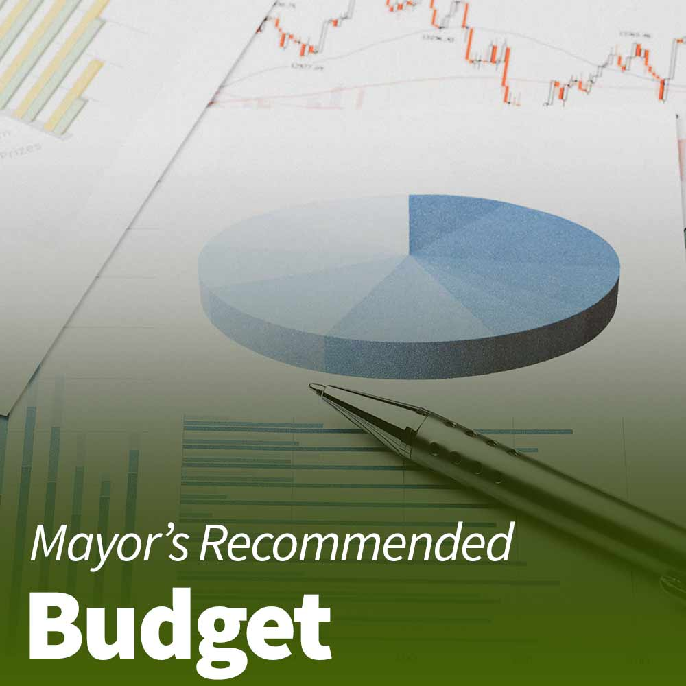 "Text that reads ""Mayors Recommended Budget"" over a pie chart"